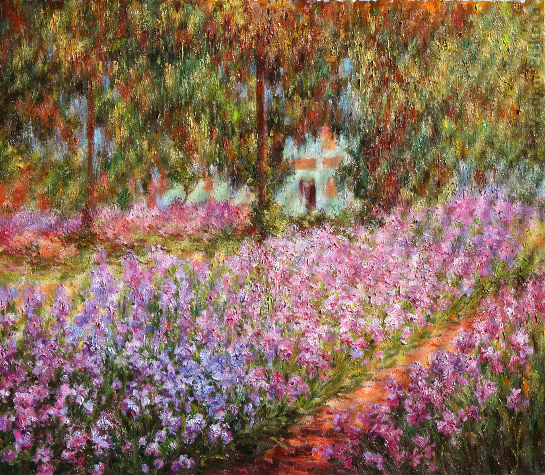 Claude Monet - The Artist\'s Garden at Giverny. Oil on canvas.